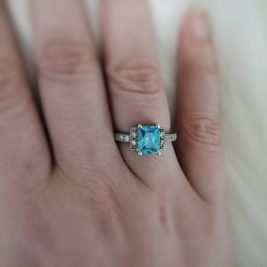 Swarovski Sterling Silver and Blue Ring Size 7
